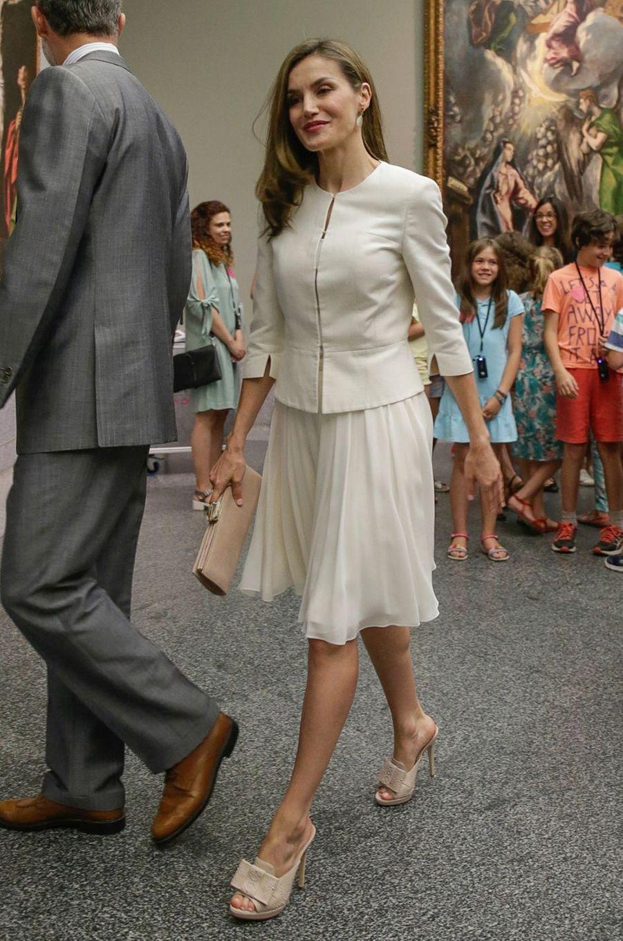 La reine Letizia d'Espagne à Madrid, le 19 juin 2017