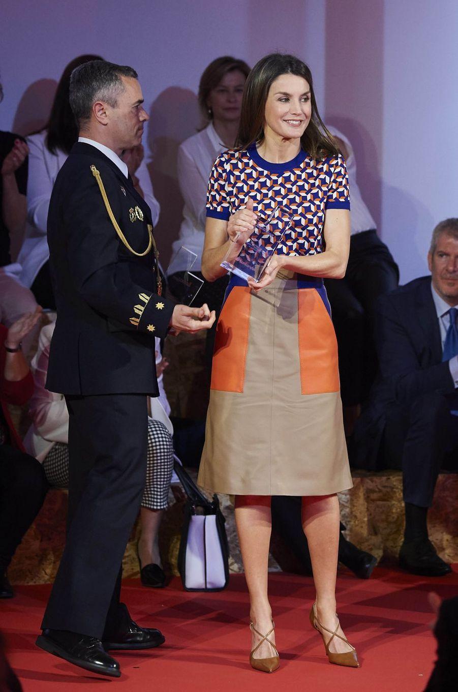 La reine Letizia d'Espagne à Madrid, le 7 mai 2018