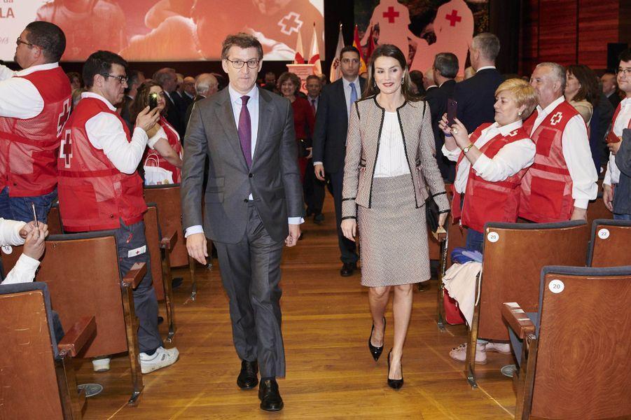 La reine Letizia d'Espagne à Saint-Jacques de Compostelle, le 8 mai 2018