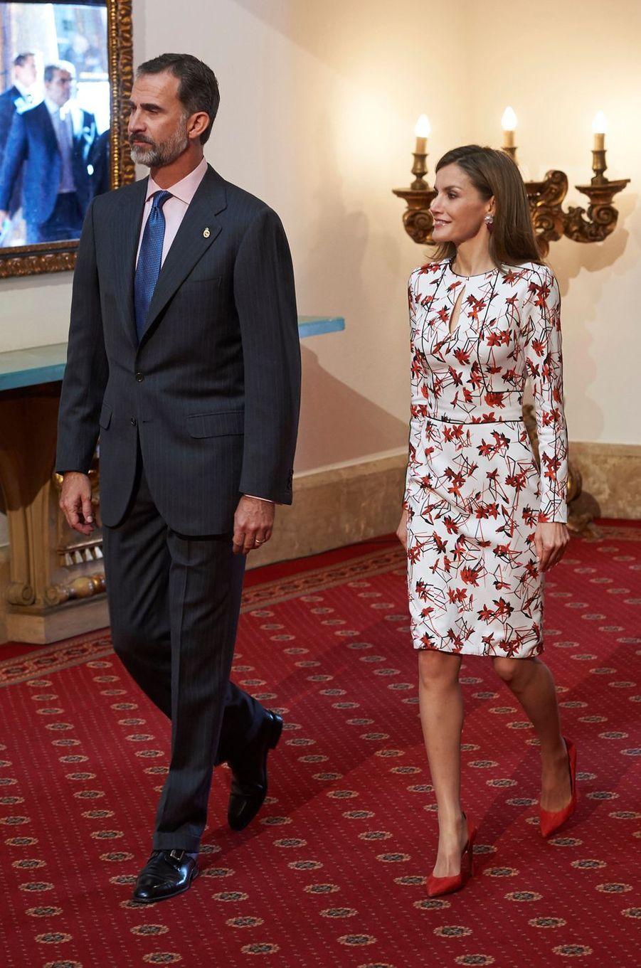 La reine Letizia et le roi Felipe VI d'Espagne à Oviedo, le 21 octobre 2016, pour les manifestations en lien avec le prix princesse des Asturies