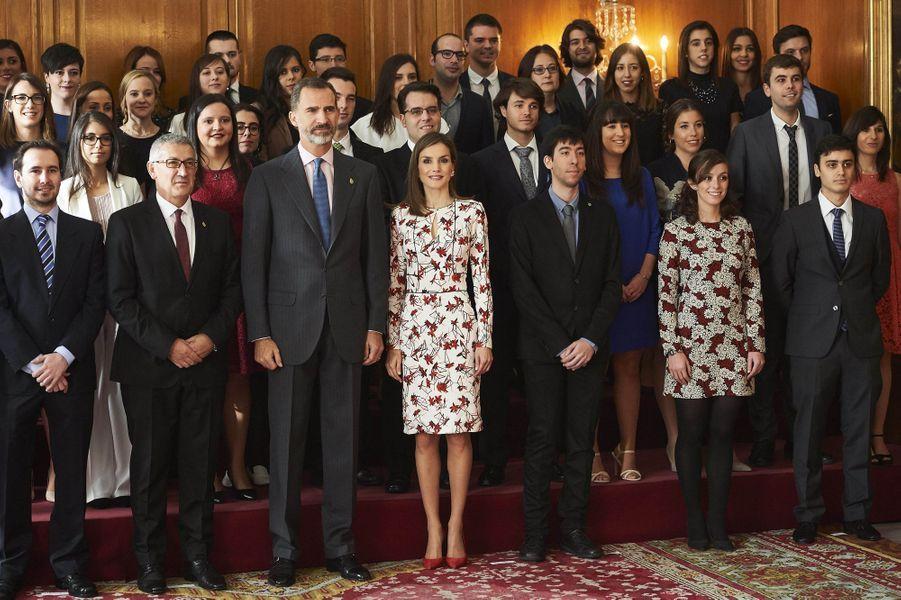 La reine Letizia et le roi Felipe VI d'Espagne à Oviedo, le 21 octobre 2016