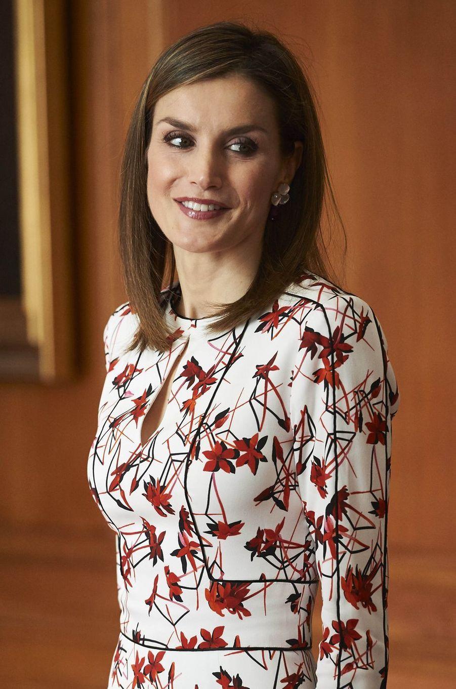 La reine Letizia d'Espagne à Oviedo, le 21 octobre 2016