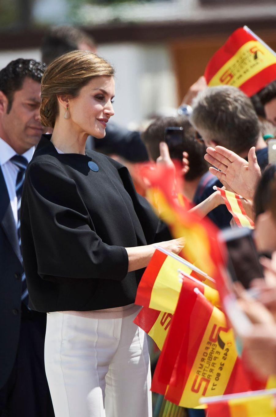 La reine Letizia d'Espagne à Tomelloso, le 18 mai 2016