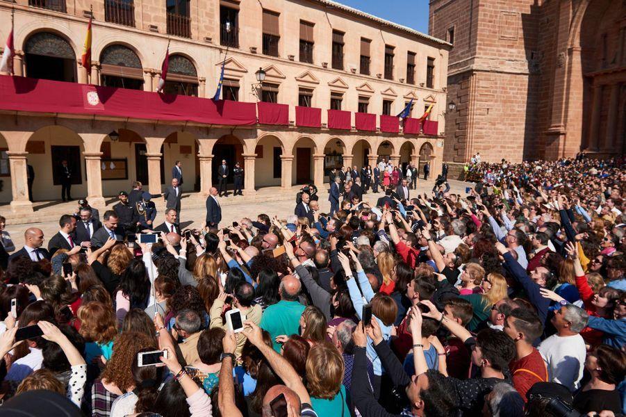 La reine Letizia d'Espagne à Villanueva de los Infantes, le 18 mai 2016