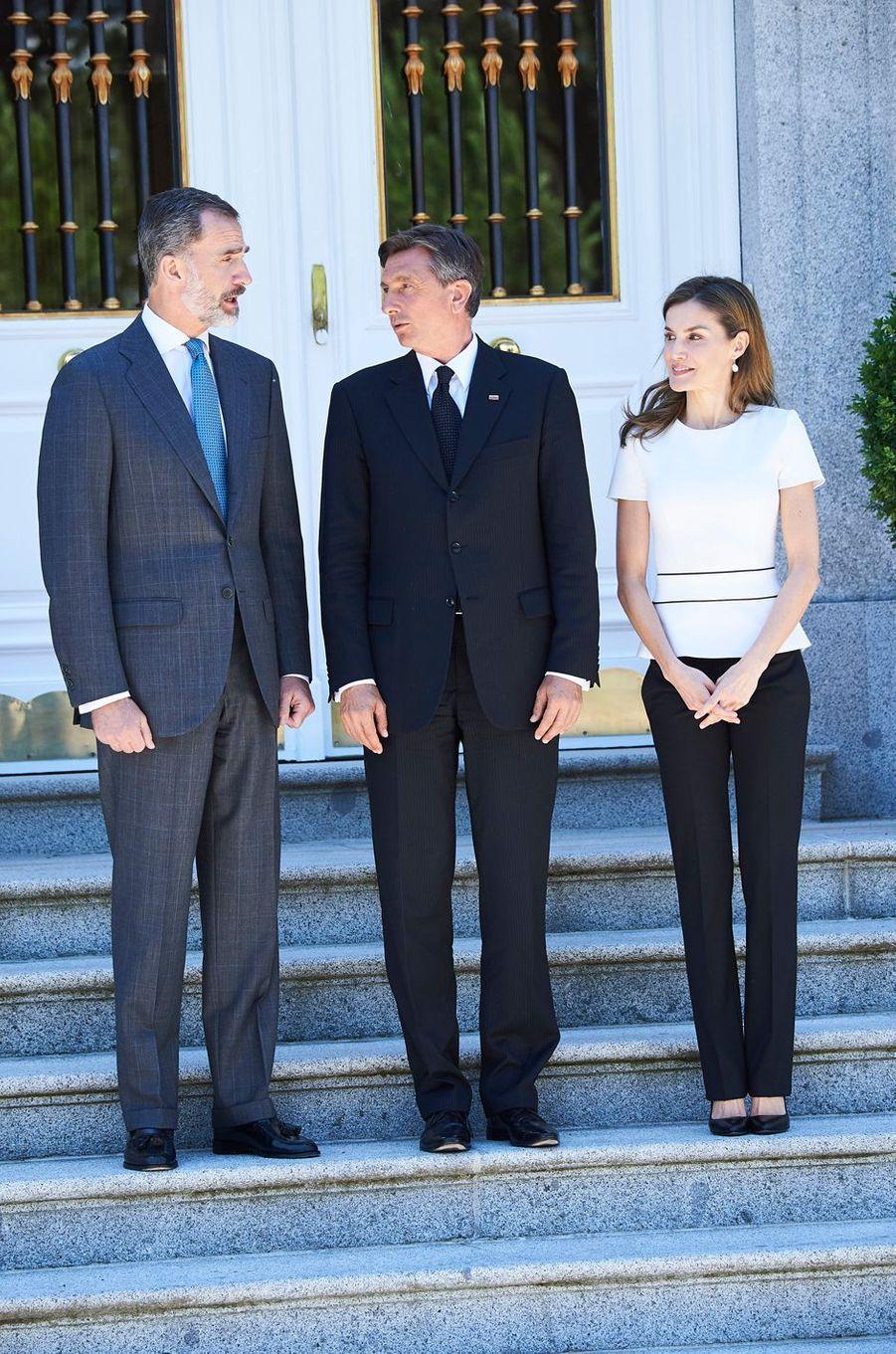 La reine Letizia et le roi Felipe VI d'Espagne avec le président Slovène à Madrid, le 27 juin 2017