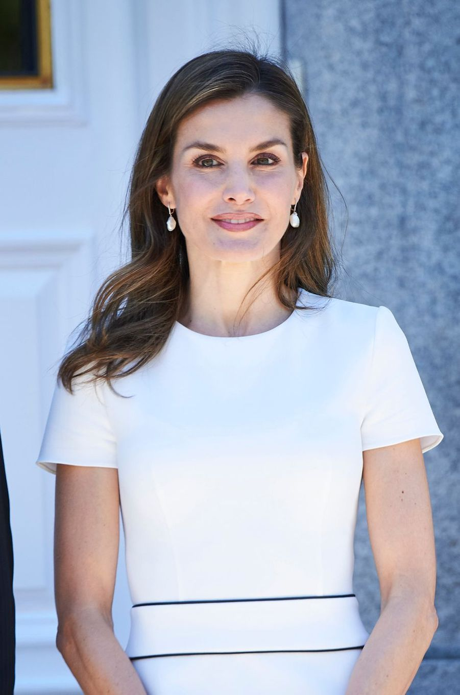 La reine Letizia d'Espagne avec le président Slovène à Madrid, le 27 juin 2017