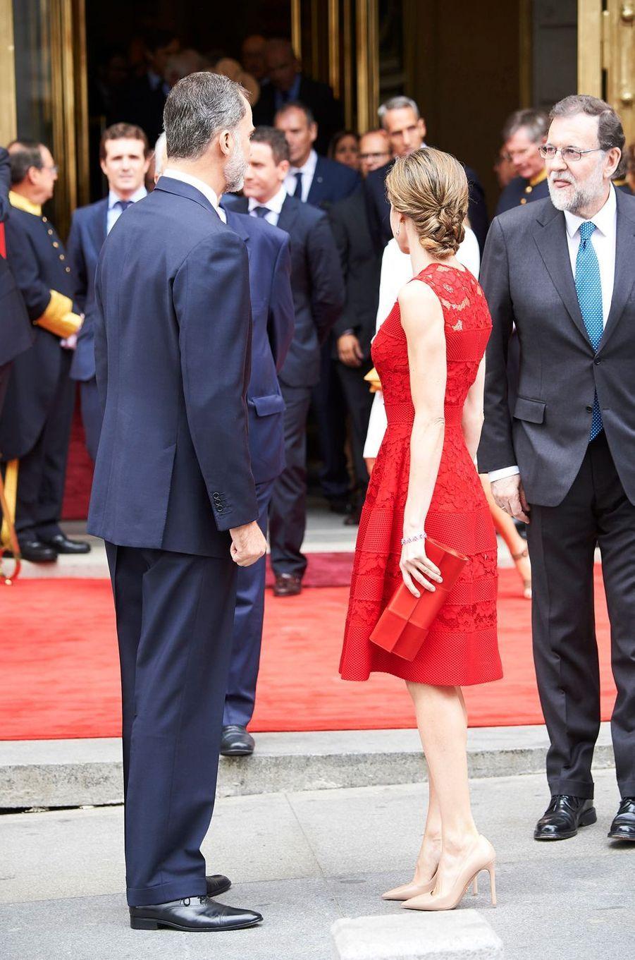 La reine Letizia et le roi Felipe VI d'Espagne à Madrid, le 28 juin 2017