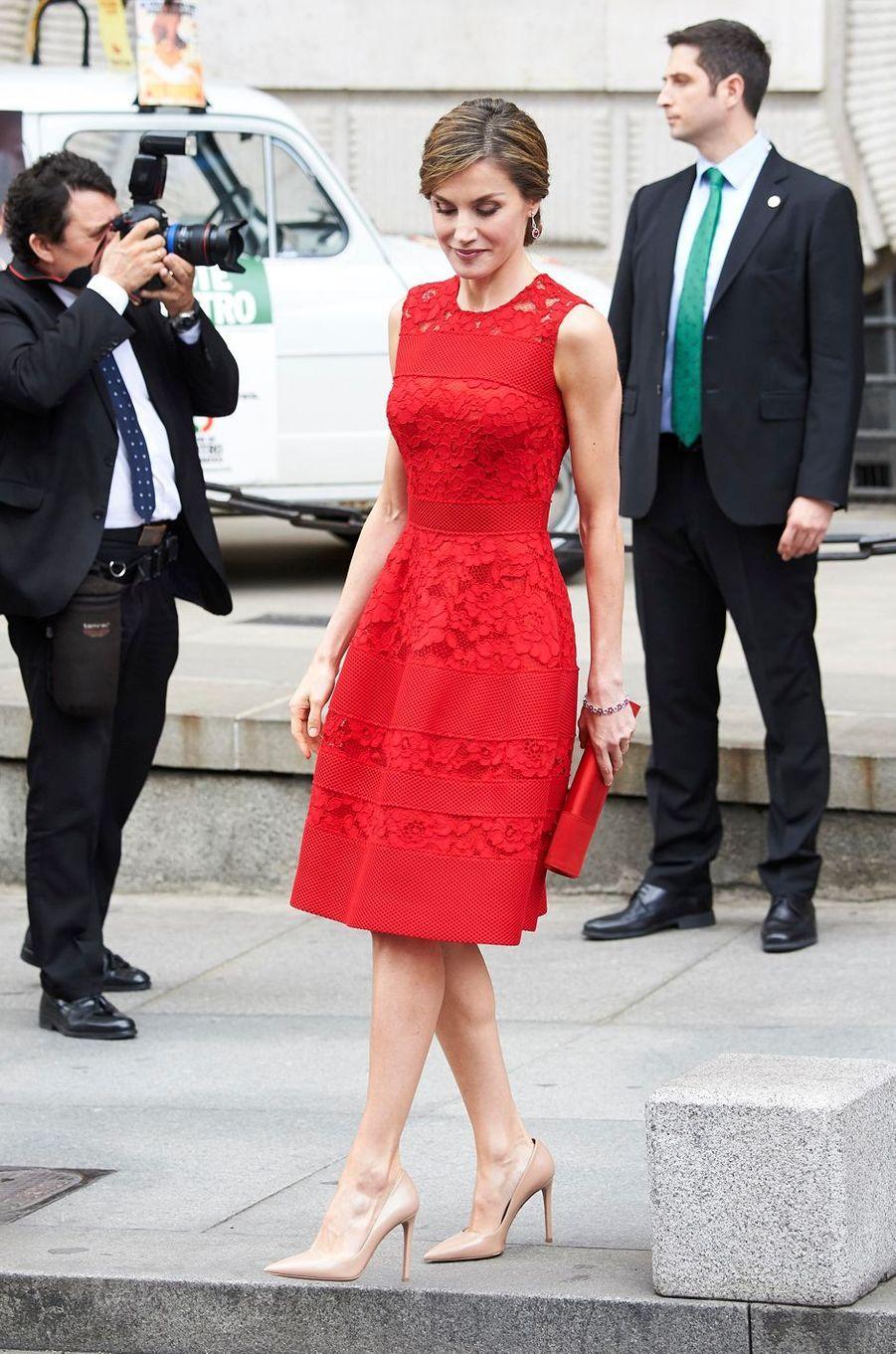 La reine Letizia d'Espagne à Madrid, le 28 juin 2017