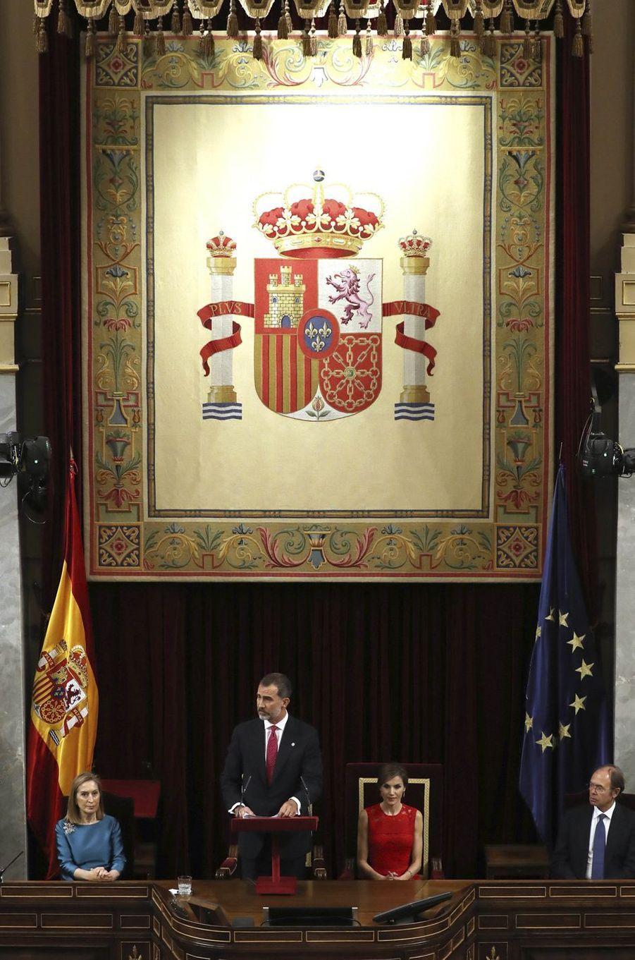 La reine Letizia et le roi Felipe VI d'Espagne au siège du Congrès des députés à Madrid, le 28 juin 2017