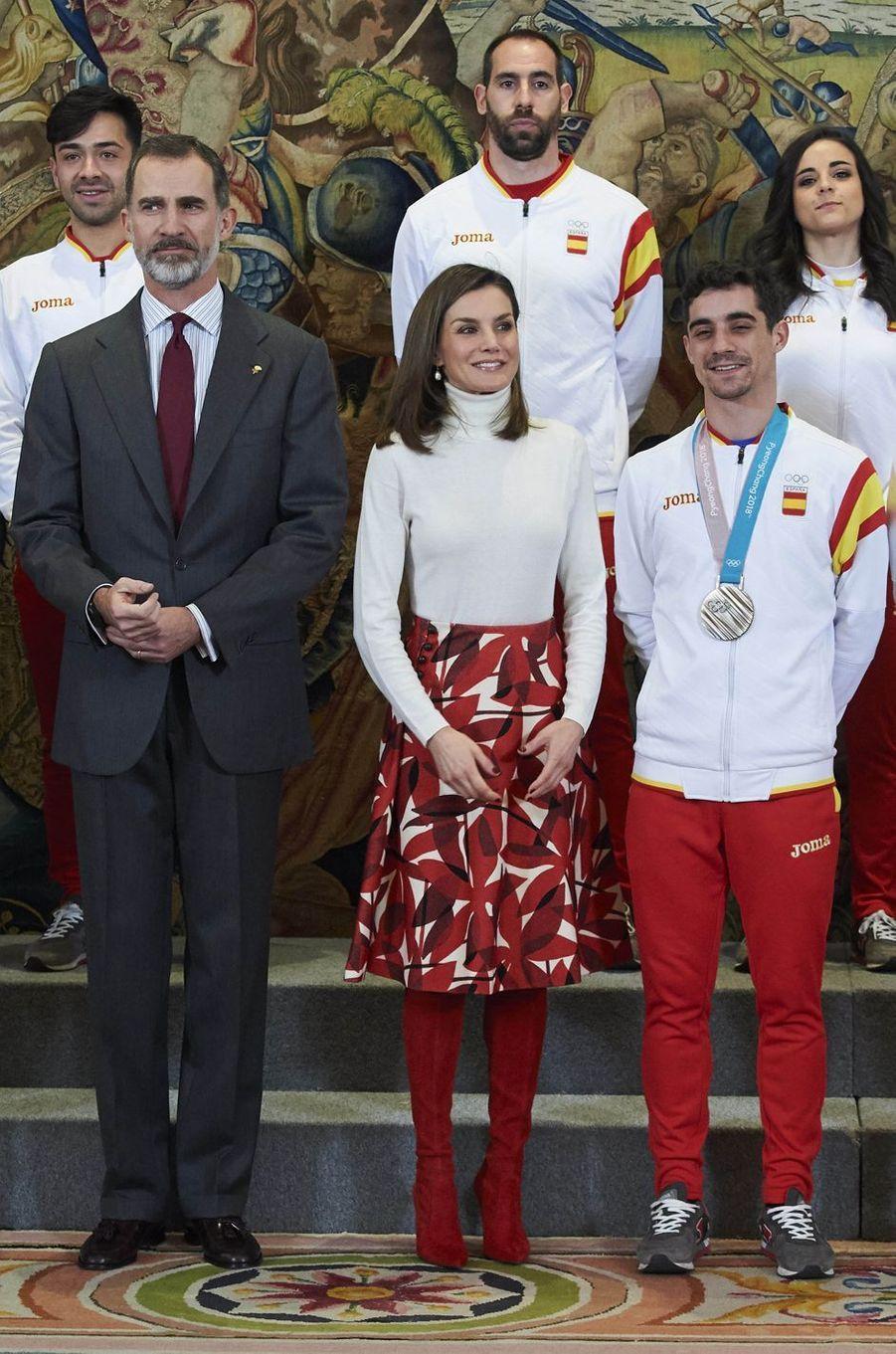 La reine Letizia et le roi Felipe VI d'Espagne à Madrid, le 6 mars 2018