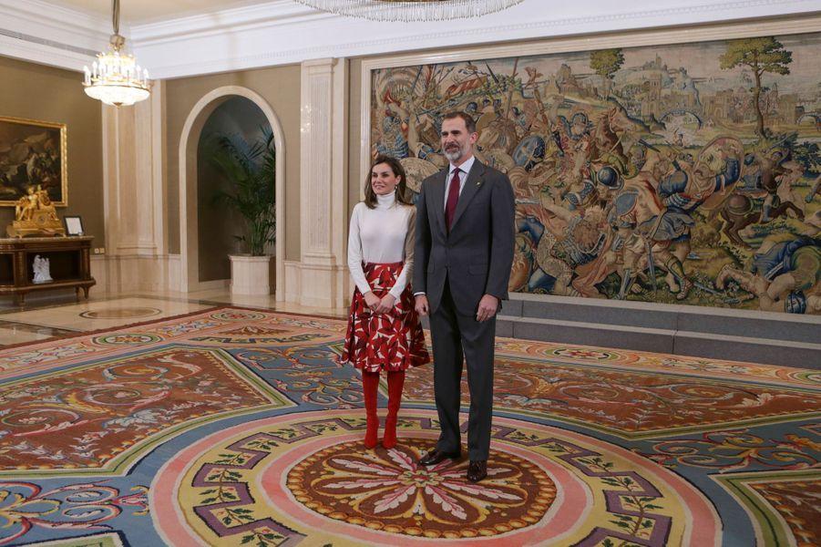 La reine Letizia et le roi Felipe VI d'Espagne au palais de la Zarzuela à Madrid, le 6 mars 2018