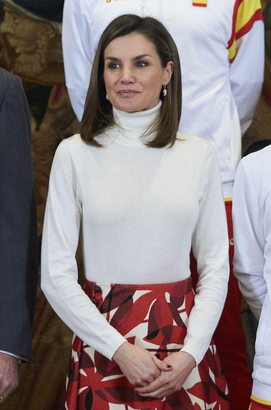 La reine Letizia d'Espagne à Madrid, le 6 mars 2018