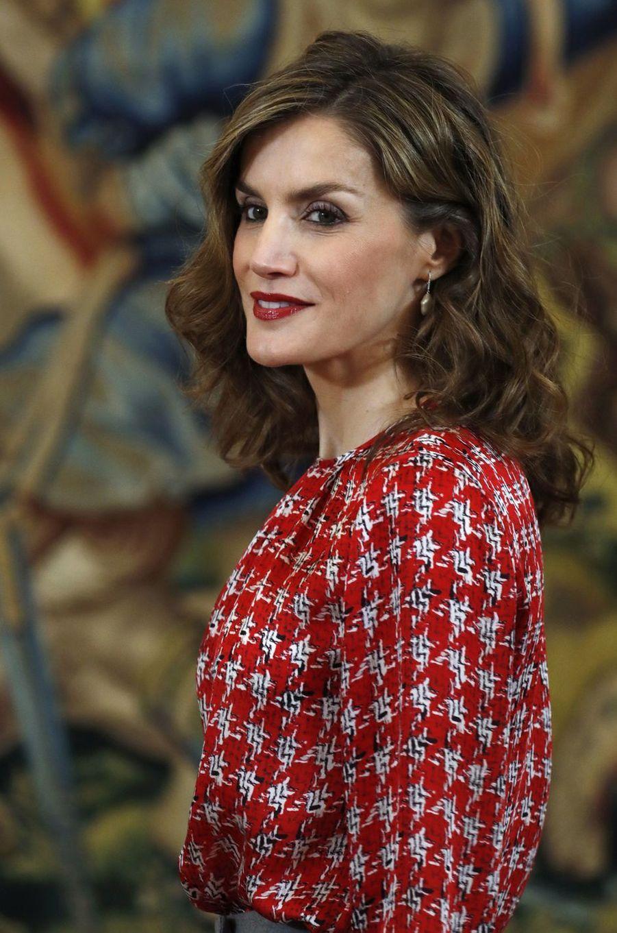 La reine Letizia d'Espagne en audience au palais de la Zarzuela à Madrid, le 4 novembre 2016