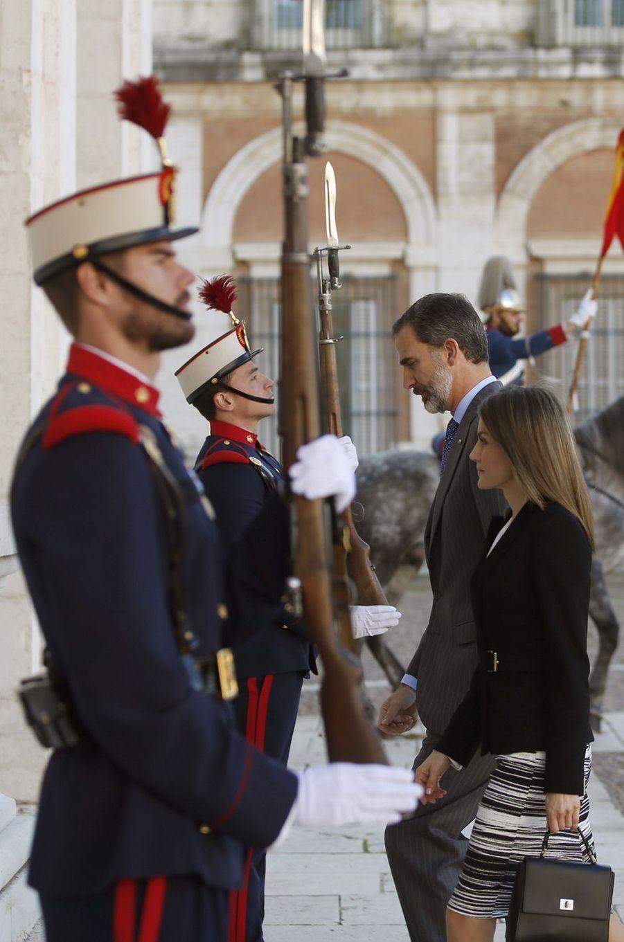 La reine Letizia et le roi Felipe VI d'Espagne à Aranjuez, le 7 novembre 2016