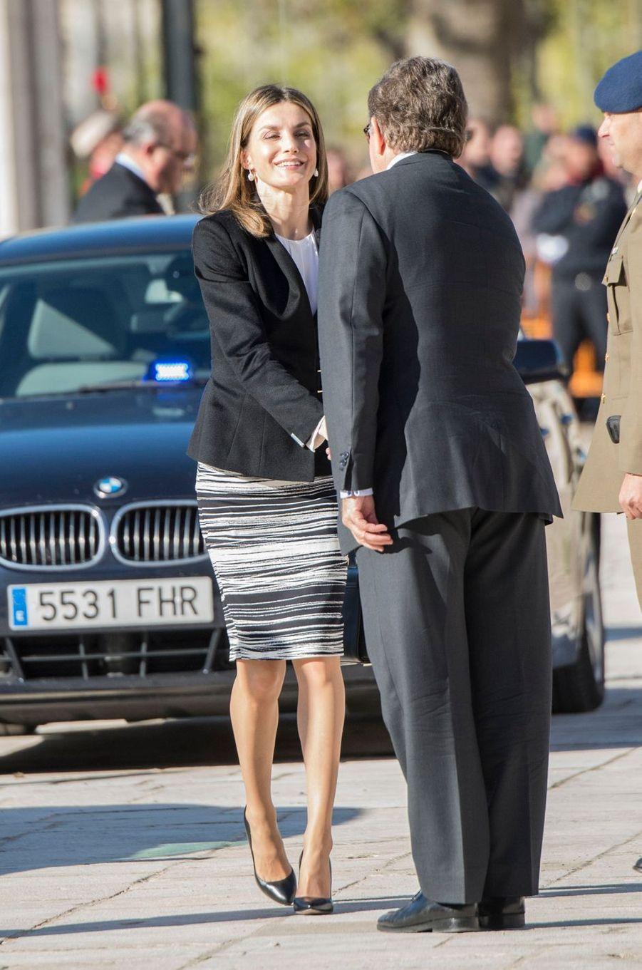 La reine Letizia d'Espagne à Aranjuez, le 7 novembre 2016