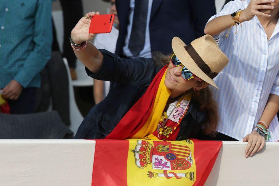 La princesse Elena d'Espagne à Madrid, le 12 octobre 2017