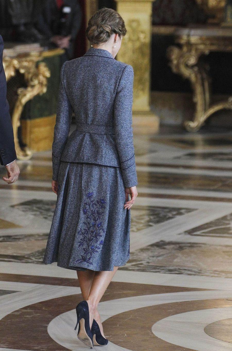 La reine Letizia d'Espagne à Madrid, le 12 octobre 2017
