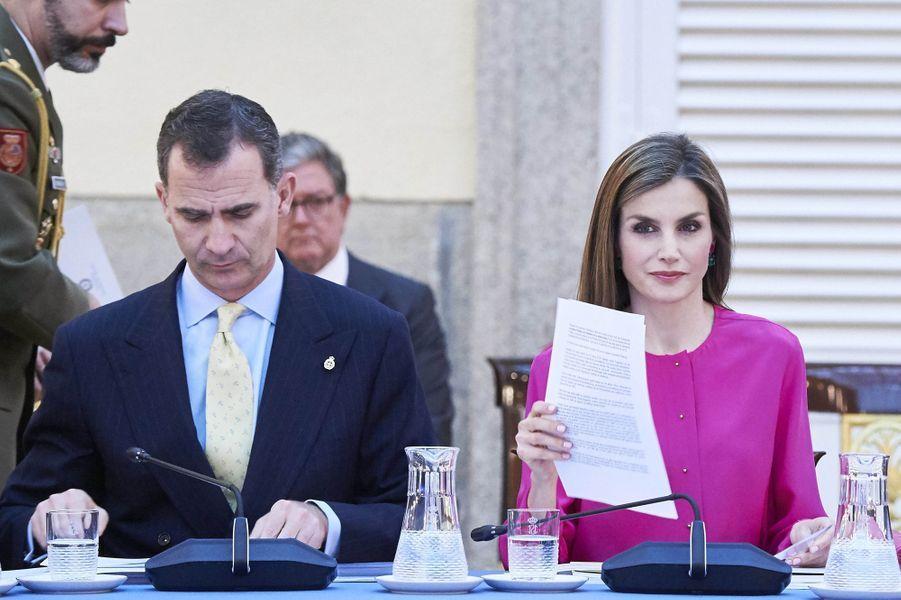 La reine Letizia et le roi Felipe VI d'Espagne à Madrid, le 15 juin 2016