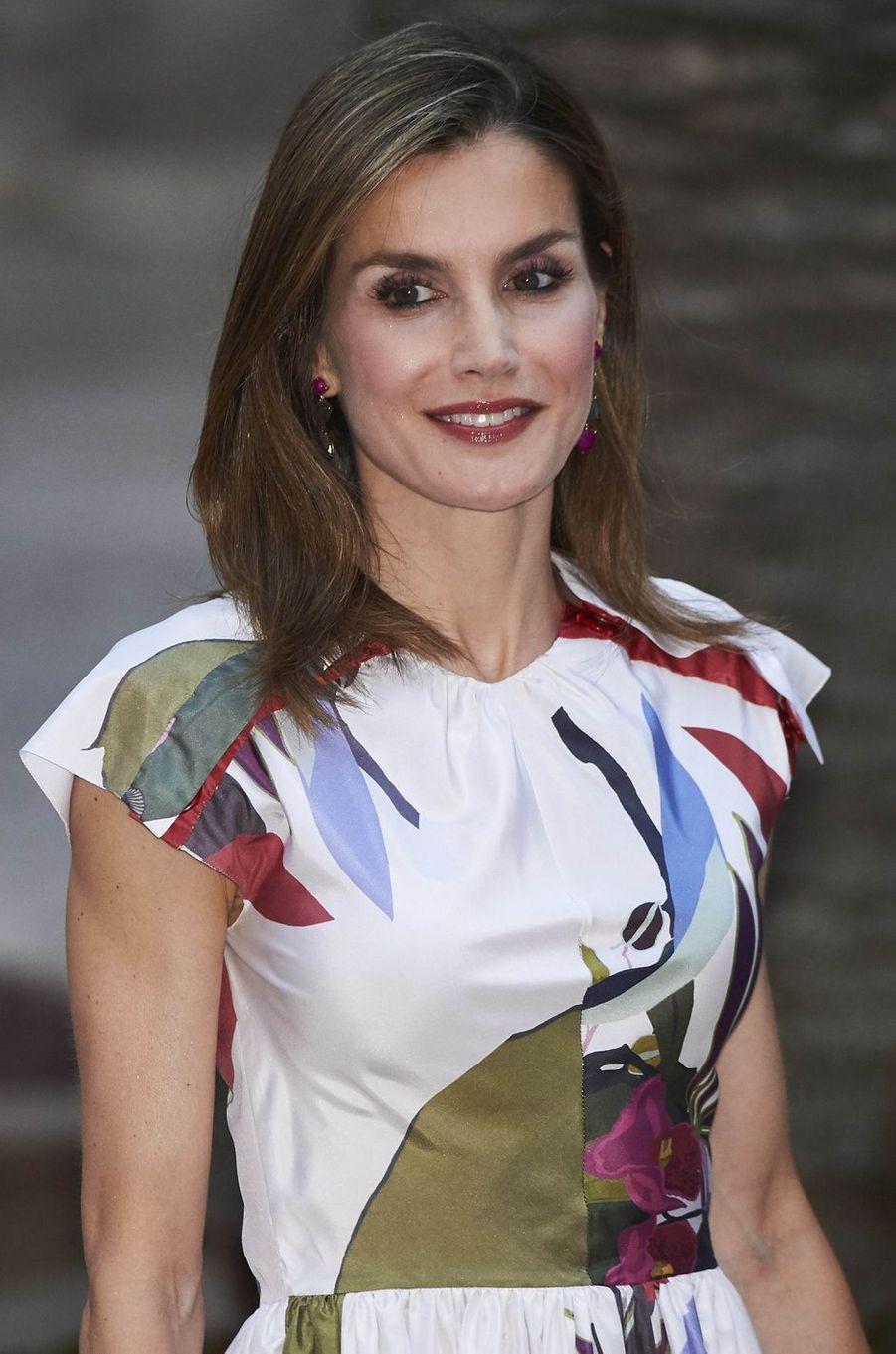 La reine Letizia d'Espagne à Palma de Majorque, le 7 août 2016