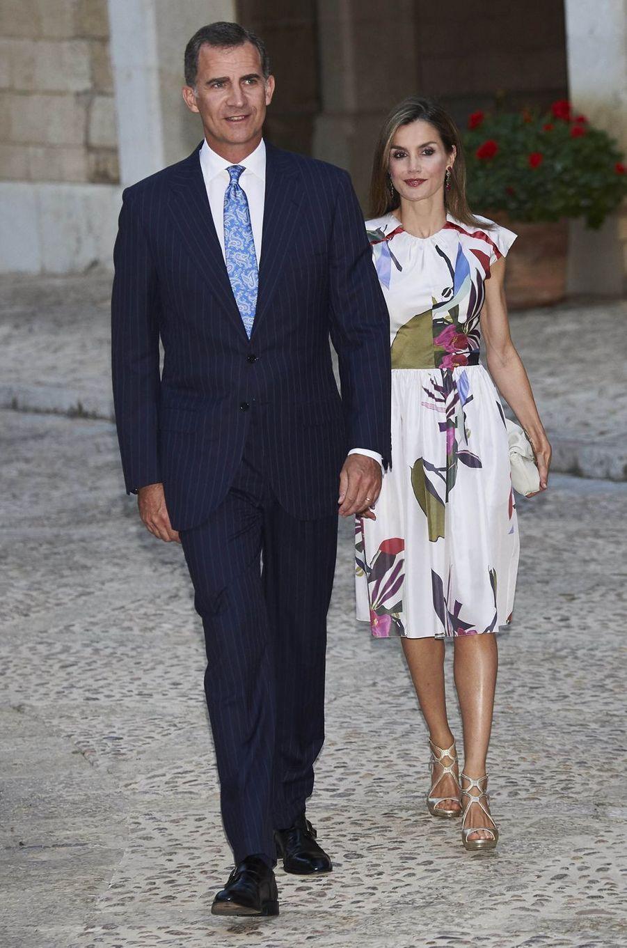 La reine Letizia et le roi Felipe VI d'Espagne à Palma de Majorque, le 7 août 2016