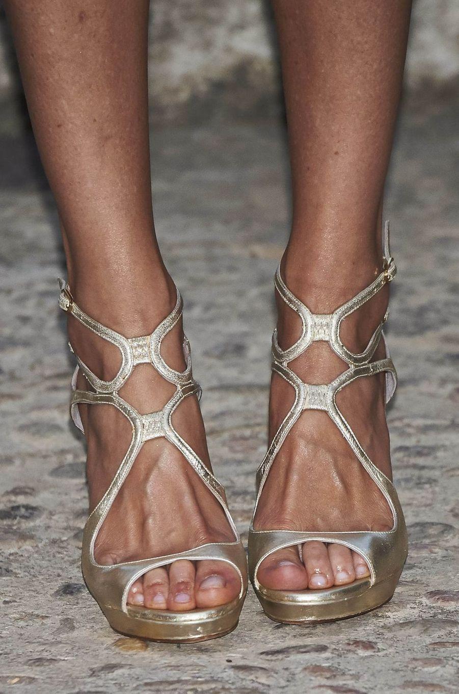 Les chaussures de la reine Letizia d'Espagne à Palma de Majorque, le 7 août 2016