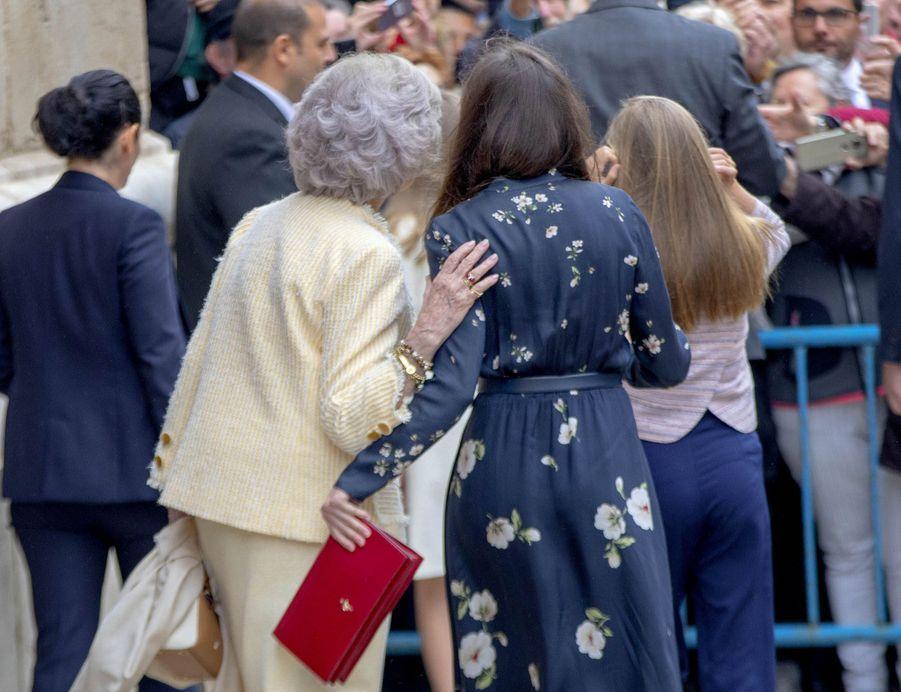 L'ex-reine Sofia et la reine Letizia d'Espagne à Palma de Majorque, le 21 avril 2019