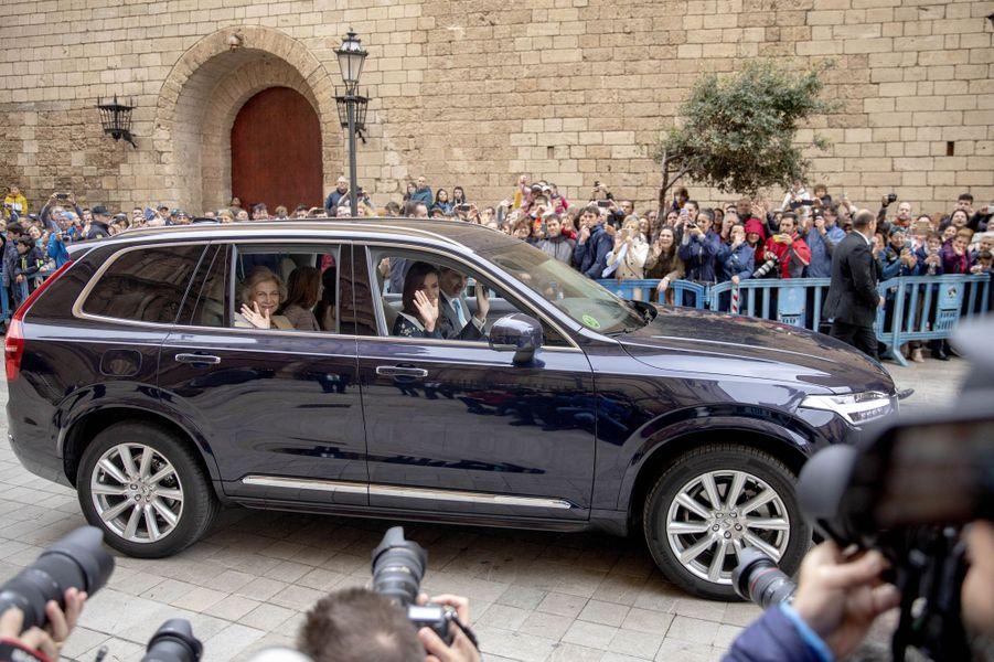 La famille royale espagnole à Palma de Majorque, le 21 avril 2019