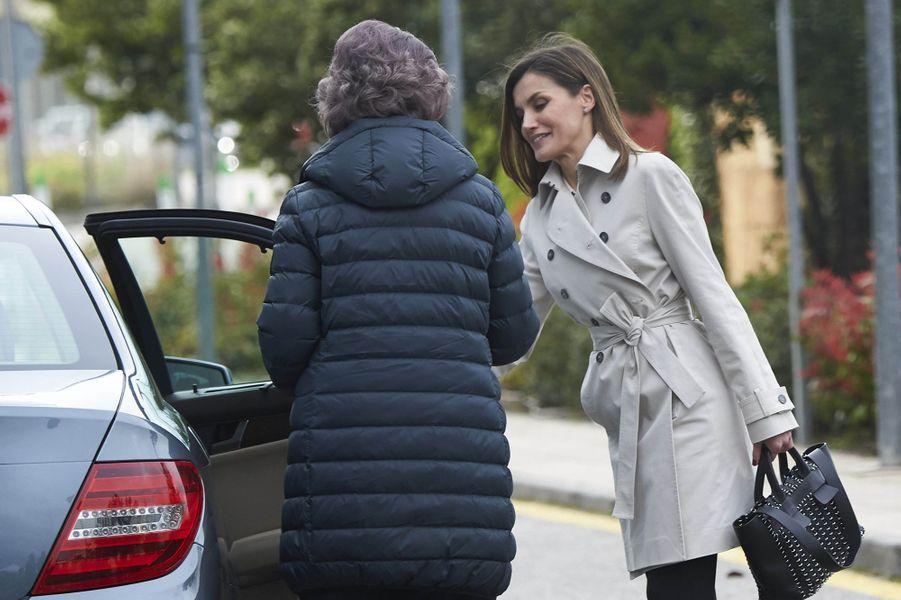 La reine Letizia d'Espagne et l'ex-reine Sofia à Madrid, le 7 avril 2018