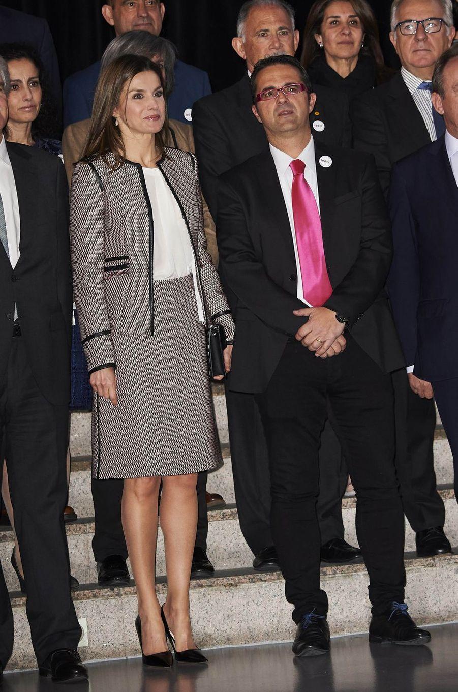 La reine Letizia d'Espagne à Madrid, le 13 mars 2018
