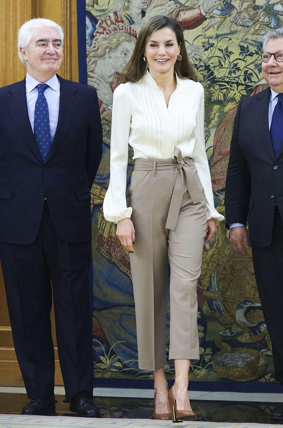 La reine Letizia d'Espagne à Madrid, le 9 mars 2018