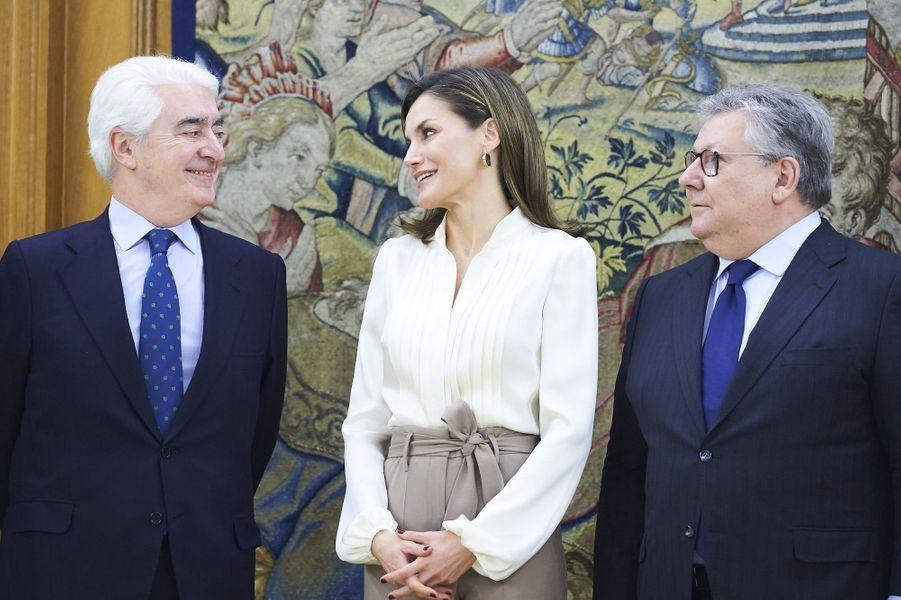 La reine Letizia d'Espagne en audience à Madrid, le 9 mars 2018