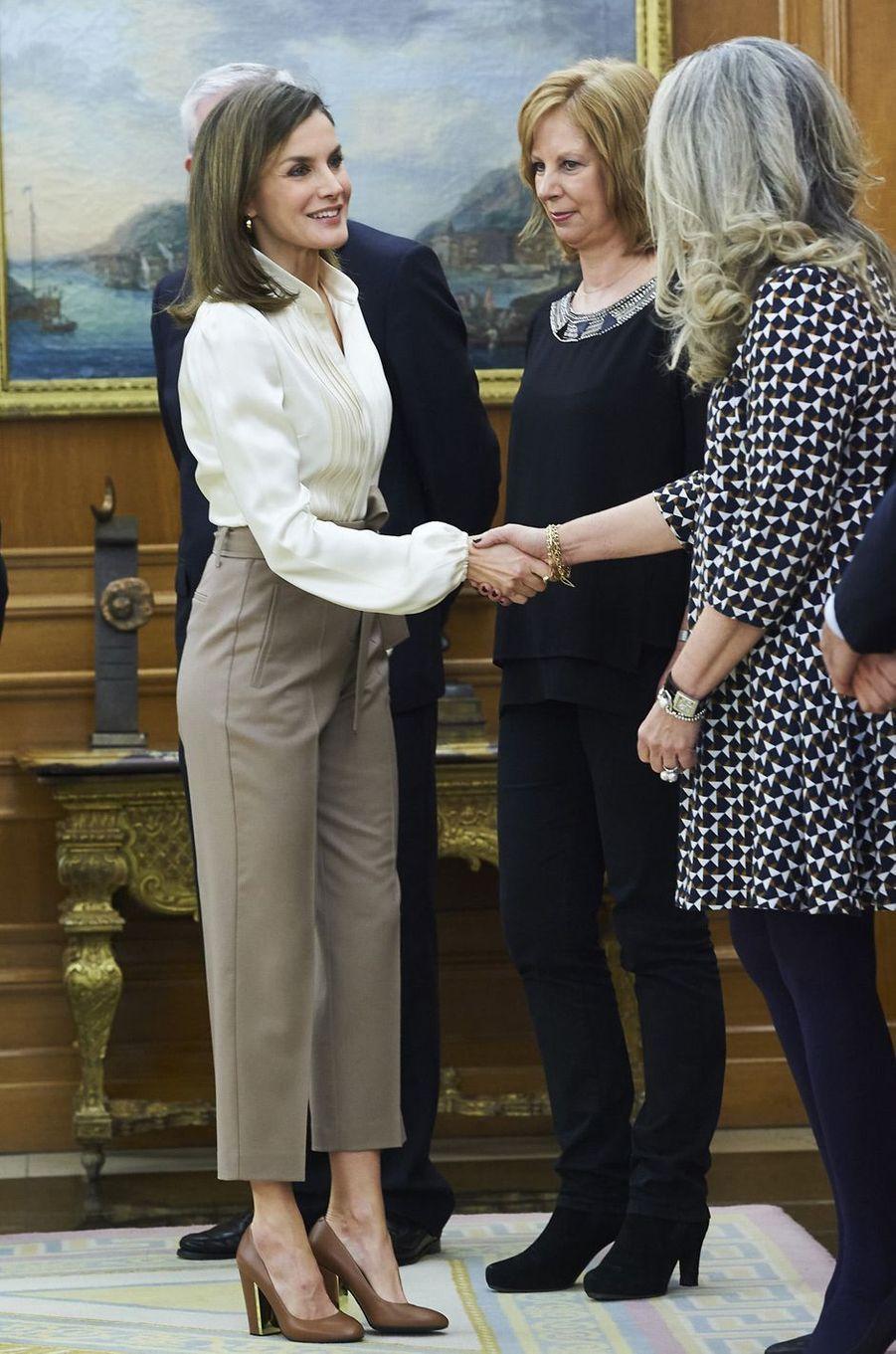 La reine Letizia d'Espagne au palais de la Zarzuela à Madrid, le 9 mars 2018
