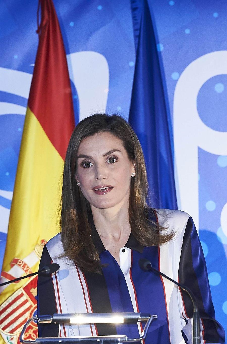 La reine Letizia d'Espagne à la tribune, à Madrid le 26 juin 2017