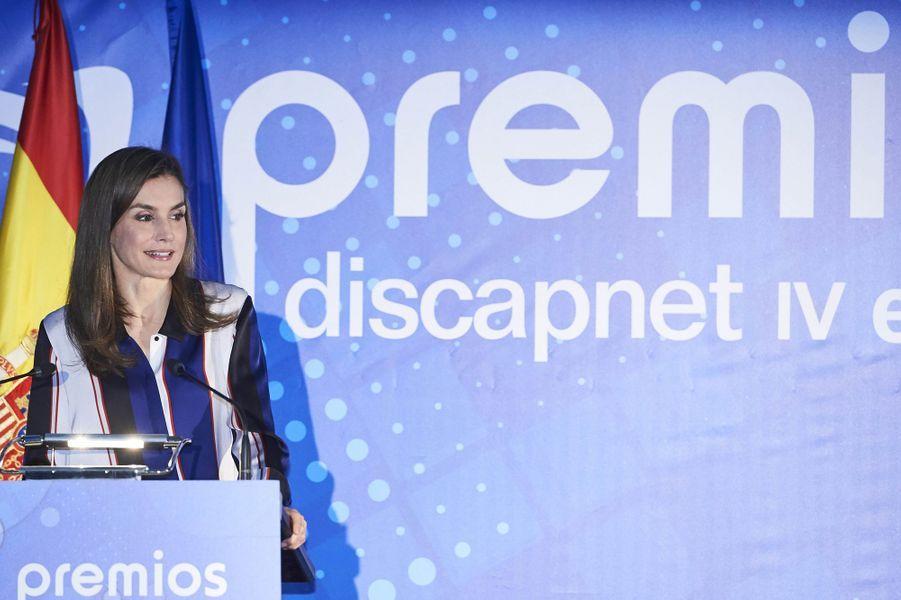 La reine Letizia d'Espagne à une remise de prix en lien avec le handicap à Madrid, le 26 juin 2017