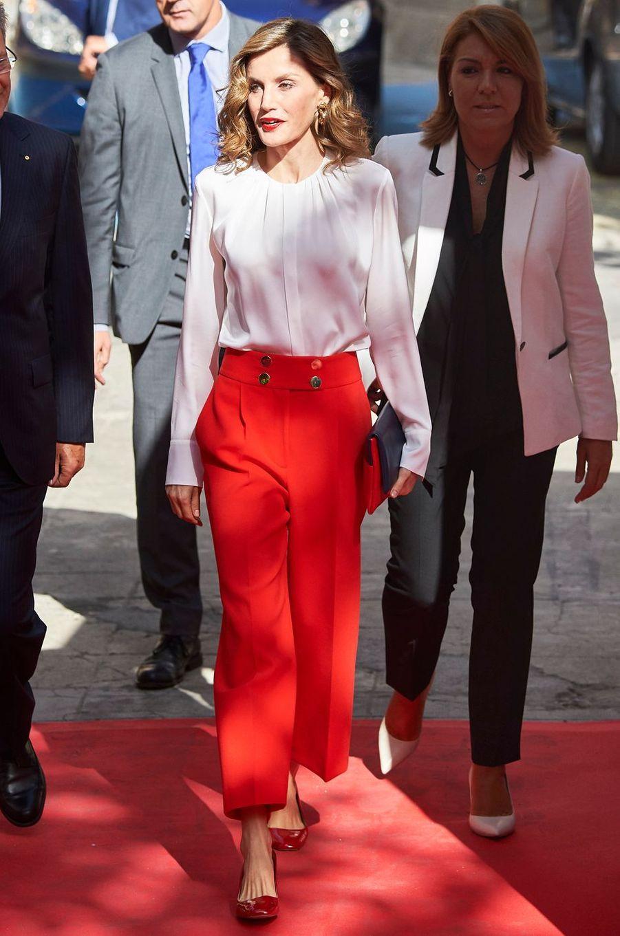 La reine Letizia d'Espagne mobilisée pour le Dia de la Banderita à Madrid, le 5 octobre 2016