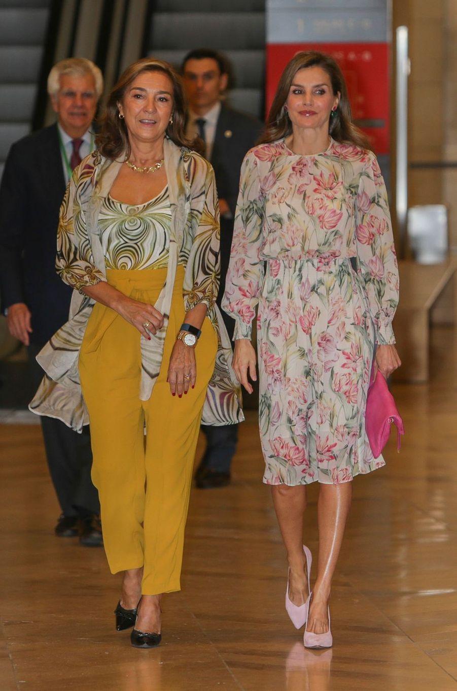 La reine Letizia d'Espagne à Madrid, le 22 septembre 2017