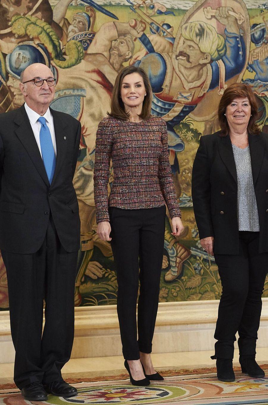 La reine Letizia d'Espagne en audience au palais de la Zarzuela à Madrid, le 27 février 2018