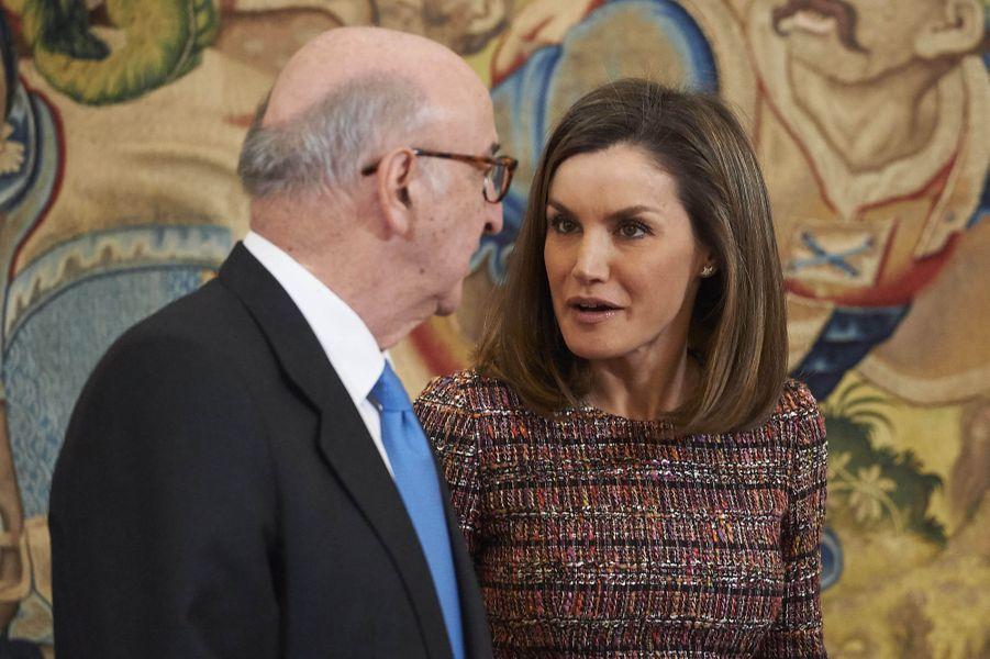 La reine Letizia d'Espagne en audience à Madrid, le 27 février 2018