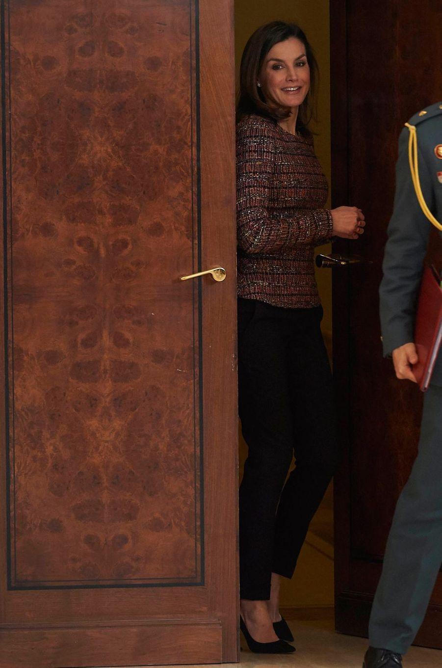 La reine Letizia d'Espagne au palais de la Zarzuela à Madrid, le 27 février 2018