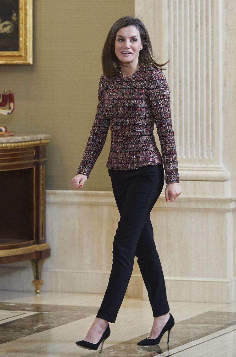La reine Letizia d'Espagne à Madrid, le 27 février 2018
