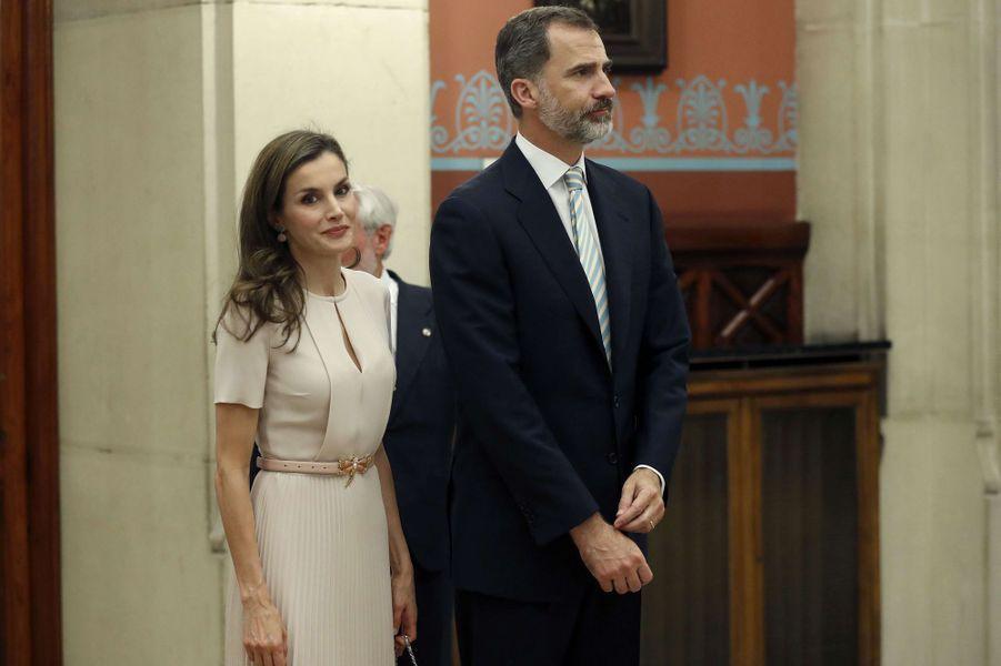 La reine Letizia et le roi Felipe VI d'Espagne au siège de l'Académie royale espagnole à Madrid, le 22 juin 2017