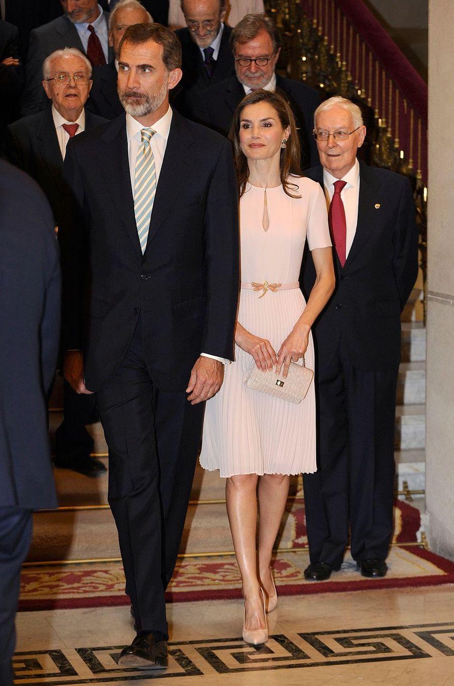 La reine Letizia et le roi Felipe VI d'Espagne à Madrid, le 22 juin 2017