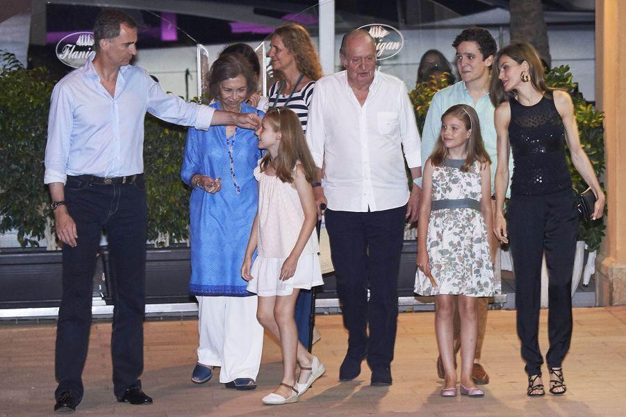 La famille royale espagnole à Majorque, le 31 juillet 2016