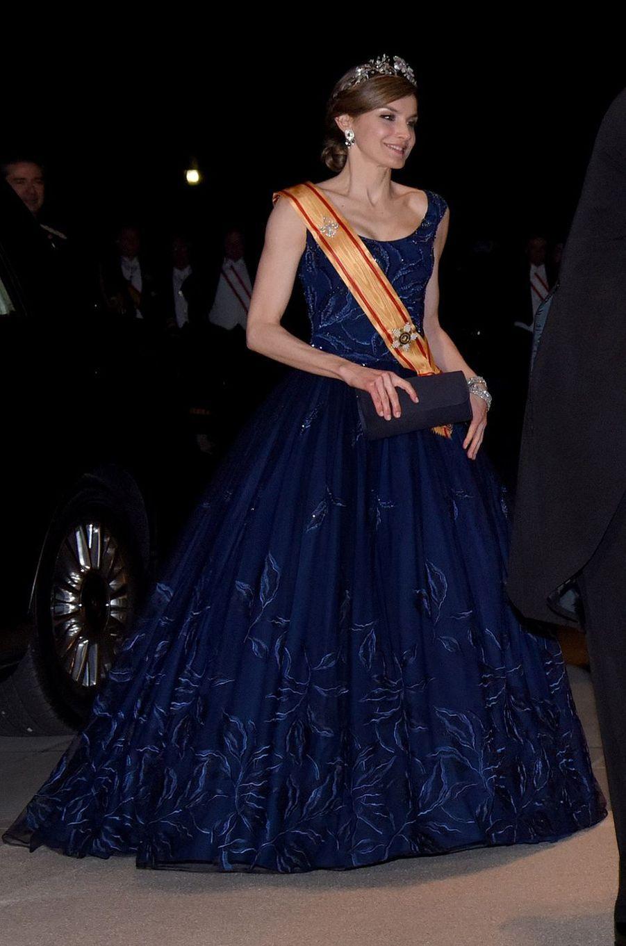 La reine Letizia d'Espagne, le 5 avril 2017