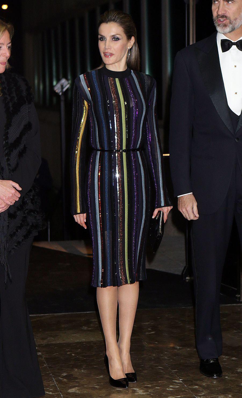 La reine Letizia d'Espagne en Nina Ricci, le 13 décembre 2016