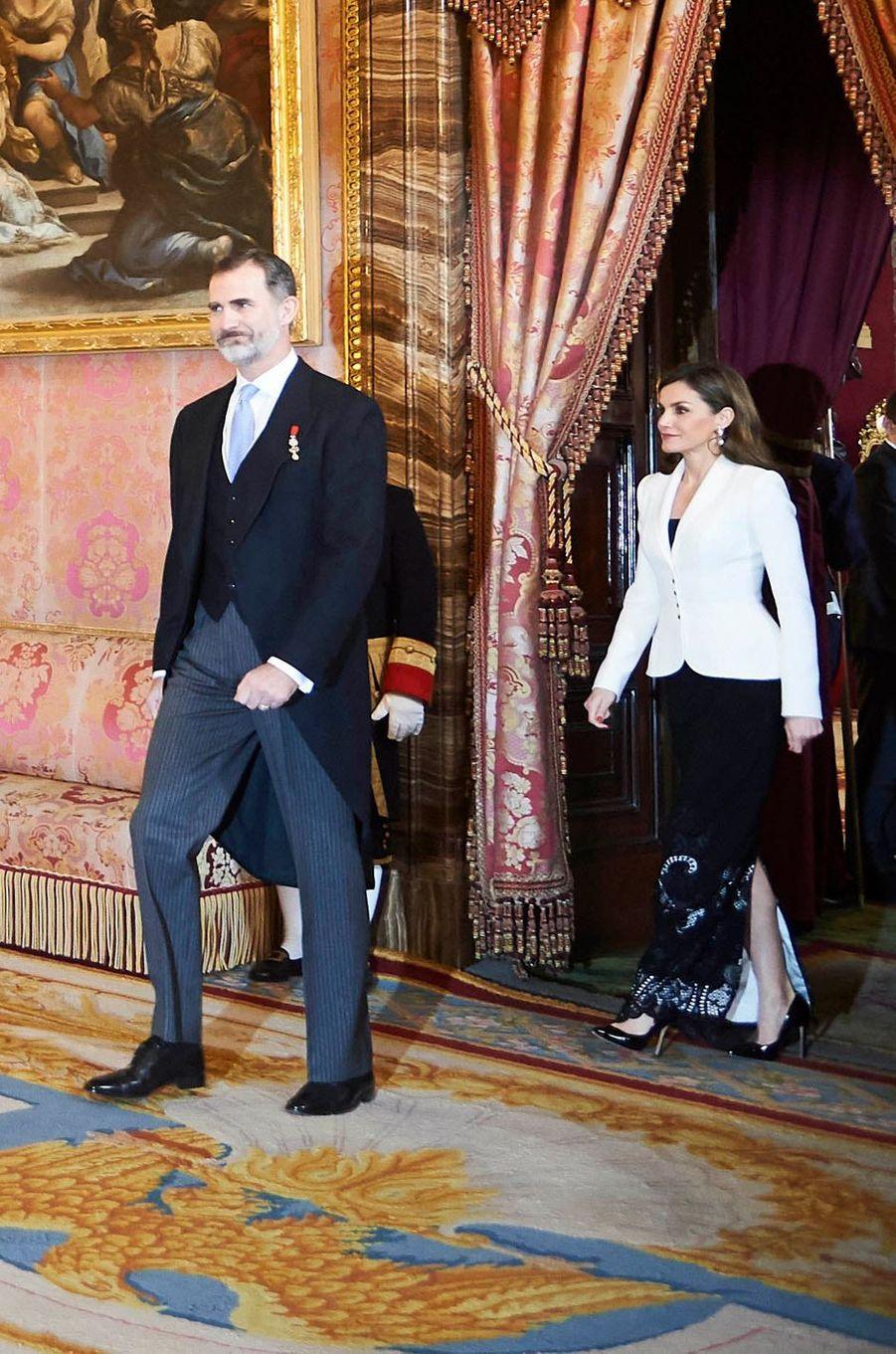Le roi Felipe VI et la reine Letizia d'Espagne à Madrid, le 31 janvier 2018
