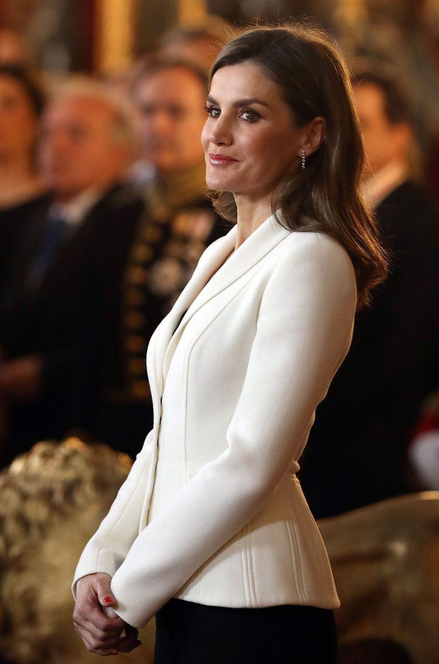 La reine Letizia d'Espagne à Madrid, le 31 janvier 2018