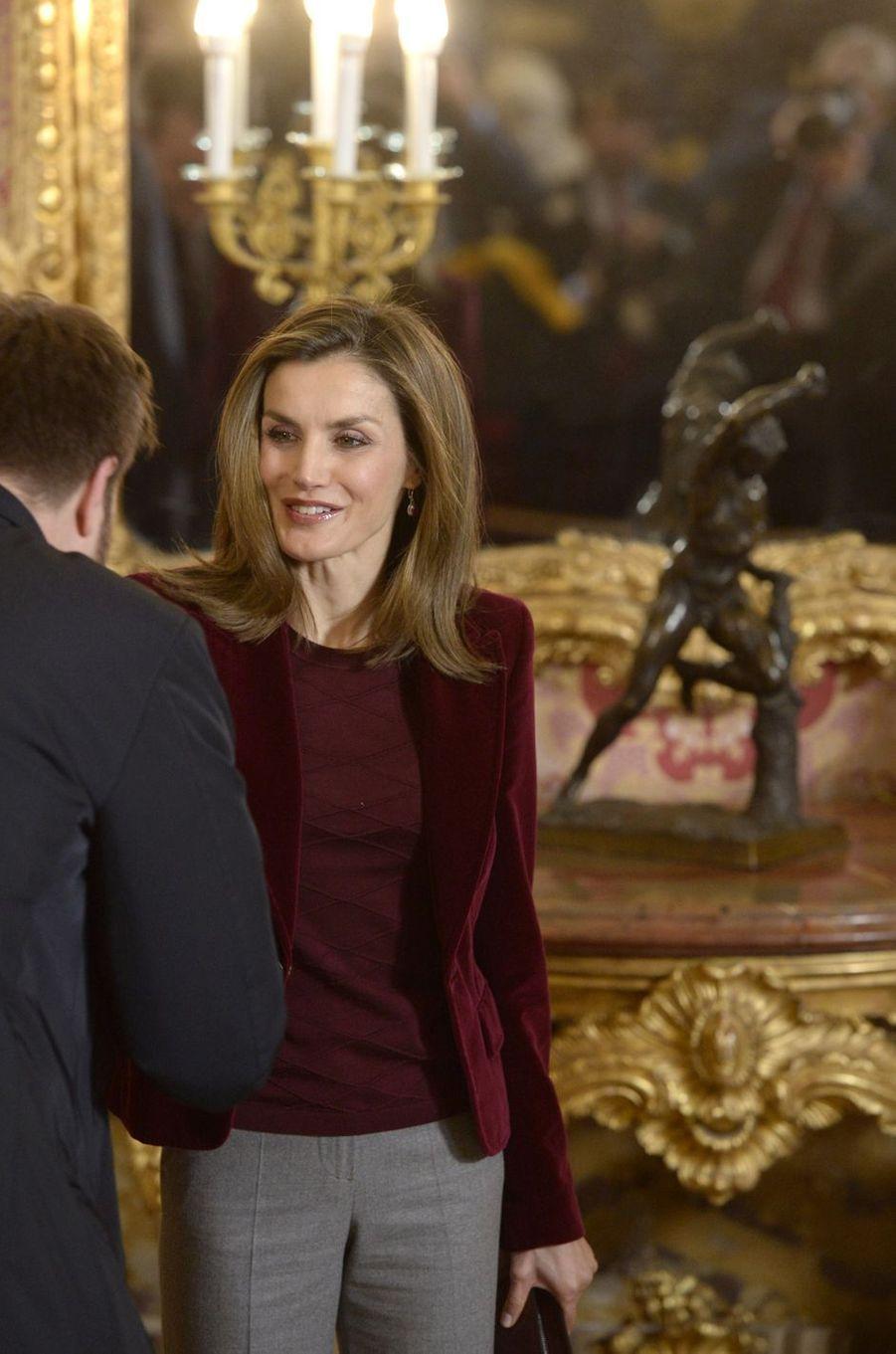 La reine Letizia d'Espagne au Palais royal à Madrid, le 14 décembre 2016