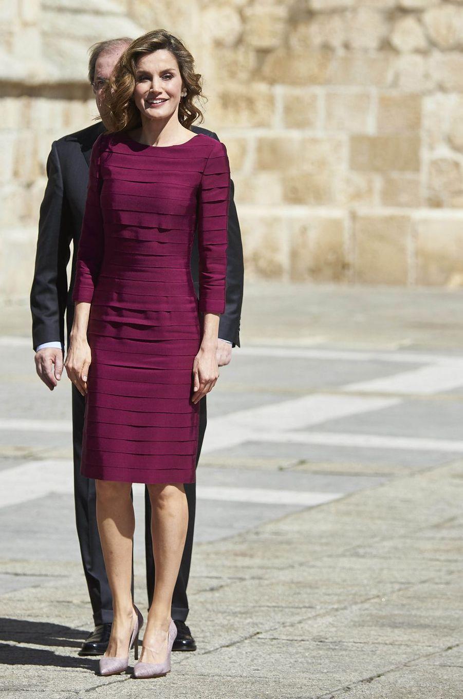 La reine Letizia d'Espagne à Palencia, le 1er juin 2016