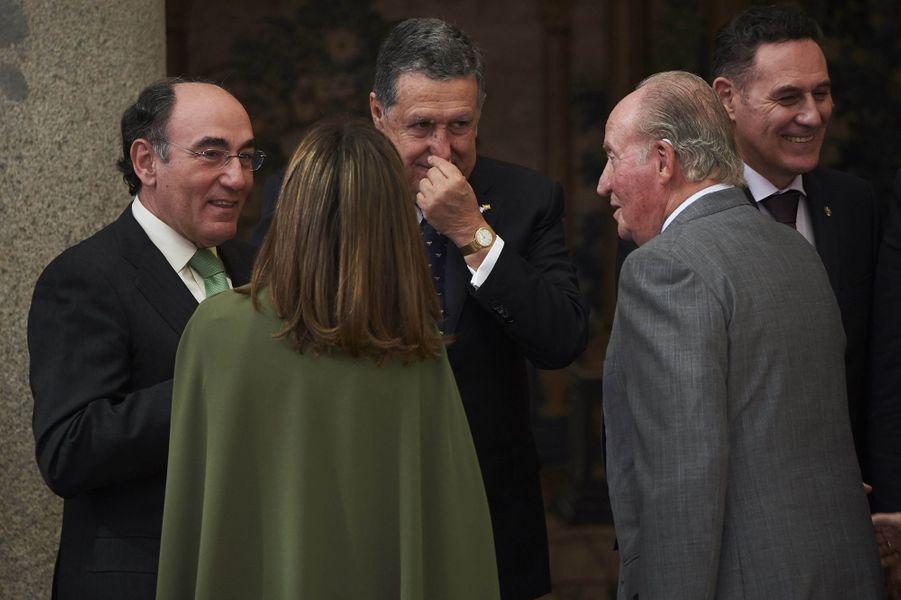 La reine Letizia d'Espagne et l'ex-roi Juan Carlos à Madrid, le 19 février 2018